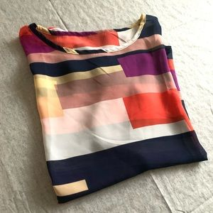 Color-blocked sheer blouse
